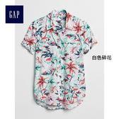 Gap女裝 熱帶印花短袖紐扣襯衫 299379-白色碎花