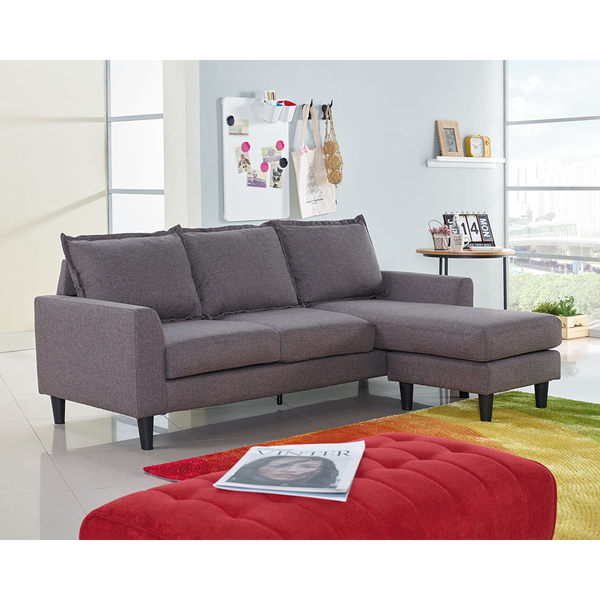 【森可家居】歐克斯小型沙發(布質) 7JX146-1 布沙發 L型 北歐風