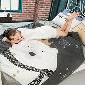 100%精梳純棉 活性印染 單人床包涼被三件組 北極熊