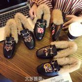 瘦腿毛毛拖鞋女冬外穿網紅奶奶拖鞋chic社會半拖鞋包頭兔毛穆勒鞋 艾莎嚴選