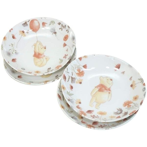 小禮堂 迪士尼 小熊維尼 日本製 造型陶瓷盤4入組 (白花草款) 4959079-29086