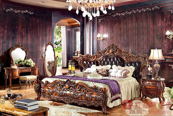 [紅蘋果傢俱] 939新古典系列 實木雕花 歐式 法式 六尺 奢華 雙人床 床架 床台 工廠直營