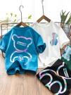 男童短袖 男童短袖T恤2021夏裝新款男孩洋氣簡約半袖上衣中大童帥氣體恤衫 歐歐
