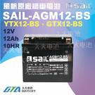 【久大電池】 風帆SAIL AGM12-BS 機車電池 AGM-GEL 適用YTX12-BS、GTX12-BS