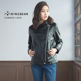 皮外套--帥氣時尚左開拉鍊質感扣式立領滑順皮革短版外套(黑XL-3L)-J219眼圈熊中大尺碼