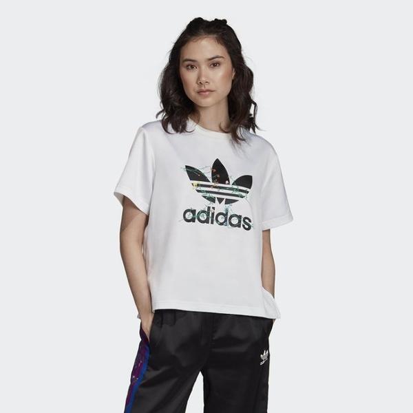 ISNEAKERS Adidas Original 女裝 白 花卉 大logo 短袖T恤 FL0026