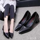 春新款高跟鞋女中跟韓版尖頭淺口女士灰色百搭單鞋工作鞋 芊惠衣屋