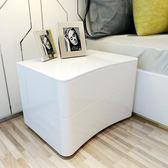 床頭櫃現代簡約歐式白色烤漆北歐個性儲物臥室儲物櫃 igo  全館免運