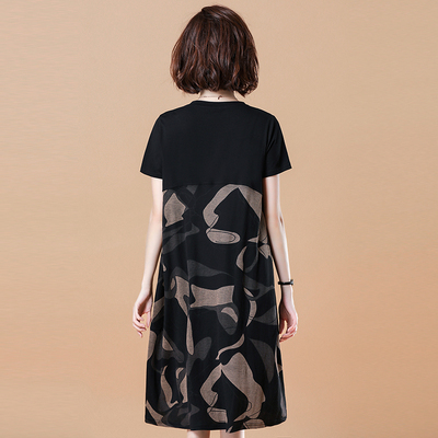 大呎碼洋裝 短袖連身裙~大碼連身裙寬松印花休閑拼接短袖A字裙女N2FB11B1愛尚布衣