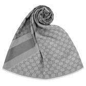 GUCCI 經典雙色緹花斜紋羊毛混絲披肩圍巾(灰色)084088-1
