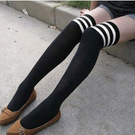 ►過膝高筒襪 及膝襪日系原宿海軍風 白條紋長筒襪 學生襪子【B7010】