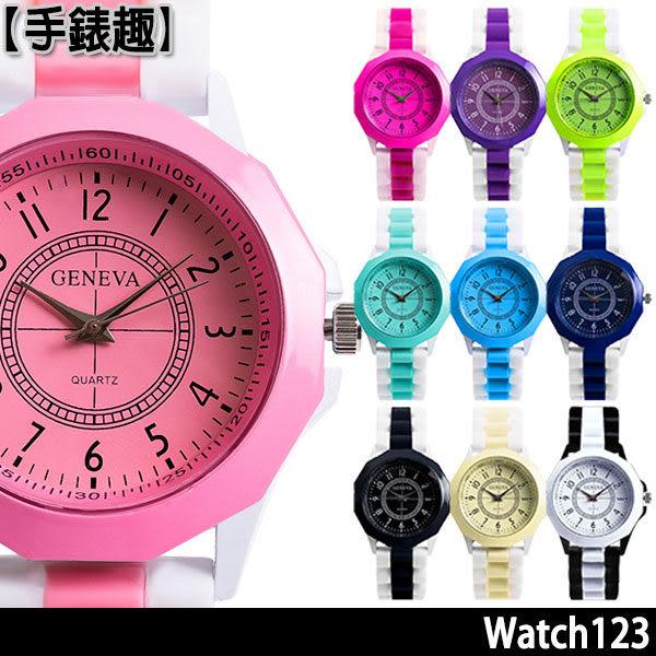 手錶 男錶 女錶 簡約 韓國 造型 矽膠 馬卡龍 *手錶趣*【00000-055】有夢佳人手錶(共10色可選)