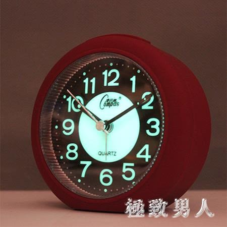 夜光靜音鬧鐘學生簡約臥室床頭鬧鐘電池辦公小清新鬧鐘 HH3063【極致男人】