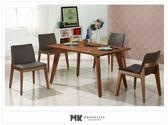 【MK億騰傢俱】CS954-1L葛麗絲4.3尺胡桃餐桌椅組(桌*1、椅*4)