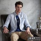 【JEEP】美式經典直條紋長袖襯衫 天空...