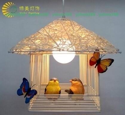 鳥籠藤編小屋小鳥吊燈 MY~燈飾581