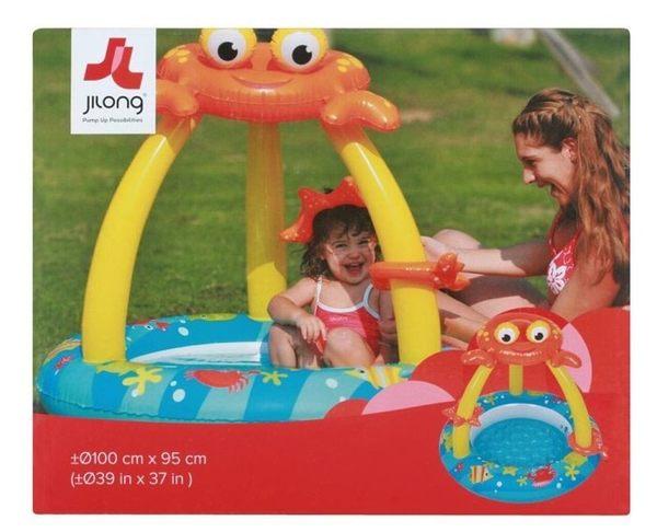 *粉粉寶貝玩具*JILONG螃蟹嬰兒水池/游泳池/造型充氣泳池~超Q版嬰兒泳池