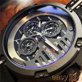 除舊佈新 男士防水手錶六針多功能皮帶錶時尚潮流大錶盤手錶男領翔手錶