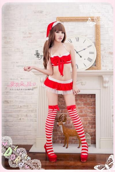 聖誕內衣 紅色性感內衣+迷你裙+聖誕帽+丁字褲-愛衣朵拉