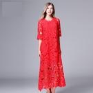 中大尺碼洋裝 蕾絲拼接時尚甜美七分袖寬鬆連身裙 L-5XL #yz14246 @卡樂@