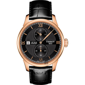 TISSOT 天梭 Le Locle 力洛克雅仕機械手錶-黑x玫瑰金框/40mm T0064283605802