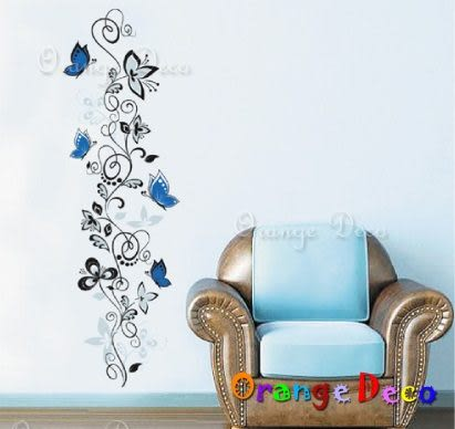 壁貼【橘果設計】藍蝶 DIY組合壁貼/牆貼/壁紙/客廳臥室浴室幼稚園室內設計裝潢