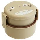 小禮堂 龍貓 日製 圓形雙層微波便當盒 雙扣便當盒 塑膠便當盒 保鮮盒 500ml (灰  大臉) 4973307-45158