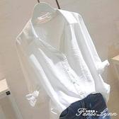 加大碼女中長款寬鬆白襯衫女五分袖襯衣胖mm顯瘦遮肚T恤上衣200斤 范思莲恩