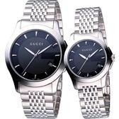 GUCCI 經典古馳菱格紋時尚對錶/情侶手錶-黑 YA126402+YA126502