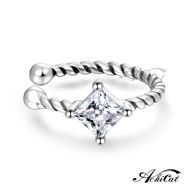 AchiCat 925純銀耳環 純銀飾 甜美可愛 耳夾式耳環 方鑽白鋯GS8058