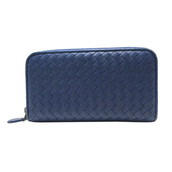 BOTTEGA VENETA 寶緹嘉 藍色編織羊皮ㄇ字型拉鍊長夾 Zippe Arround Wallet