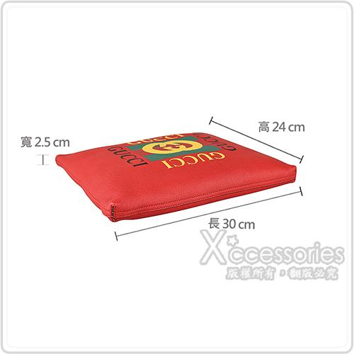 GUCCI經典綠紅綠印花LOGO荔枝紋牛皮手拿化妝包(紅)