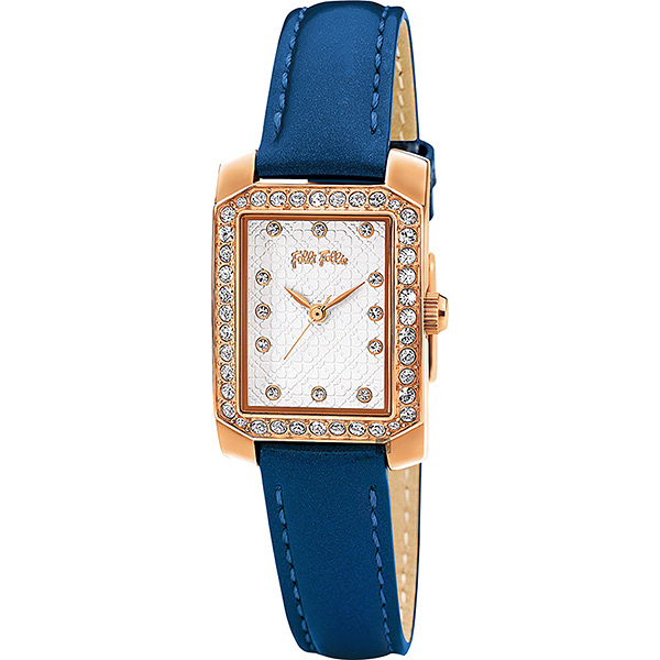Folli Follie Daisy 晶鑽幸運手錶-銀x藍 WF13B053SSS-BL