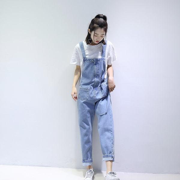 M8019#純色破洞高腰牛仔背帶褲吊帶褲女  &小咪的店&