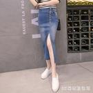 半身裙女春夏牛仔裙2020新款高腰修身彈力a字型半裙包臀一步開叉 LR20103『3C環球數位館』