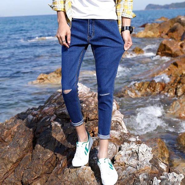 男牛仔褲窄管褲破洞九分褲潮流韓版修身小腳褲子《印象精品》t798