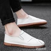 皮鞋2020新款夏季男鞋韓版潮流男士休閒豆豆皮鞋春季透氣百搭懶人潮鞋曼莎時尚