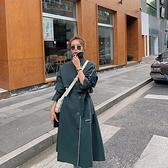 風衣大衣-長款單排扣寬鬆繫帶包邊女外套73yt36[巴黎精品]