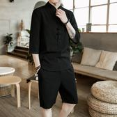 【熊貓】唐裝男道袍中國風盤扣外套套裝漢服中山裝