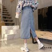 a字牛仔半身裙女梨形身材穿搭顯瘦中長款高腰直筒裙【時尚大衣櫥】