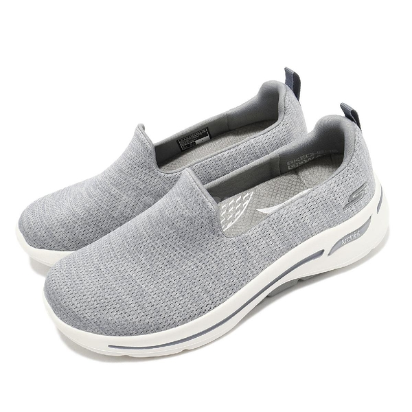 Skechers 健走鞋 Go Walk Arch Fit Unlimited Time D 寬楦頭 女鞋 灰 白 套入式【ACS】 124480WGRY