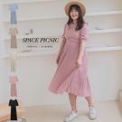 洋裝 Space Picnic|棉花糖企劃-後拉鍊百摺短袖洋裝(現+預)【C20048108】