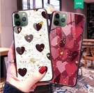 iPHone 11 11Pro Max 手機殼 軟硅膠 鋼化玻璃 防摔 全包 愛心 金箔 個性 防刮 保護殼 軟邊 玻璃 硬殼