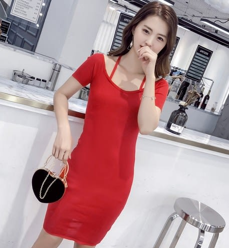 EASON SHOP(GU6075)中長款繞頸交插綁帶小V領包臀連身裙女針織坑條露背洋裝彈力貼身韓版長版素色