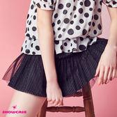 【SHOWCASE】質感細條紋網紗拼接A字短裙(黑)