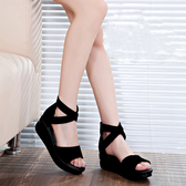 厚底真皮平底涼鞋 女大碼坡跟羅馬鞋【多多鞋包店】z2031