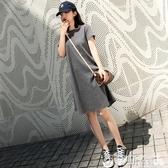 中長款純色圓領螺紋連身裙簡約大碼韓版寬鬆短袖T恤裙中裙夏 伊蒂斯