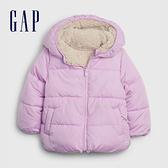 Gap女幼童 保暖仿羊羔絨絎縫拉鍊連帽外套 593213-淡紫色