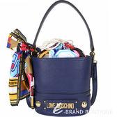 LOVE MOSCHINO 繽紛印花絲巾束口水桶包(海軍藍) 1910137-34