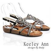 ★零碼出清★ Keeley Ann 民族風情~細緻鏤空條目造型涼鞋(黑色)